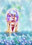 Mujer en balneario Ilustración de la acuarela stock de ilustración
