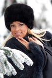 Mujer en bosque del invierno Foto de archivo