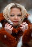 Mujer en bosque del invierno de la nieve Imagen de archivo libre de regalías