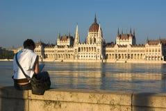 Mujer en Budapest Fotos de archivo
