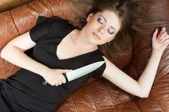 Mujer en cama Fotografía de archivo libre de regalías