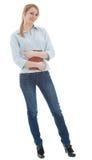 Mujer en camisa azul con el libro Fotos de archivo libres de regalías