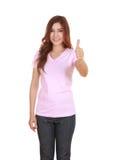 Mujer en camiseta en blanco con los pulgares para arriba Foto de archivo libre de regalías