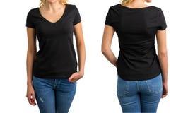 Mujer en camiseta, frente y parte posterior con cuello de pico negros Fotos de archivo