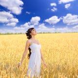 Mujer en campo de trigo Fotos de archivo