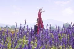 Mujer en campos de flor fotos de archivo