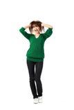 Mujer en capa verde Fotografía de archivo