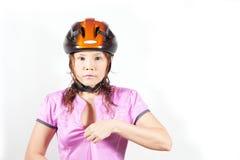 Mujer en casco Fotos de archivo libres de regalías