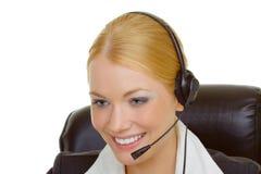Mujer en centro de atención telefónica Fotos de archivo