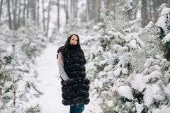 Mujer en chaleco de la piel del invierno que camina en bosque del invierno fotografía de archivo libre de regalías