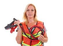 Mujer en chaleco de la seguridad fotos de archivo