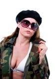 Mujer en chaqueta militar Foto de archivo libre de regalías