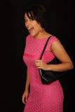 Mujer en color de rosa caliente Fotografía de archivo libre de regalías