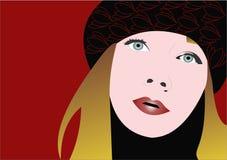 Mujer en colores rojos hermosos Foto de archivo