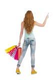 Mujer en concepto de las compras aislada ilustración del vector