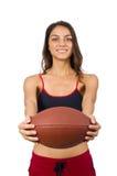Mujer en concepto del deporte aislada en blanco Imagen de archivo libre de regalías
