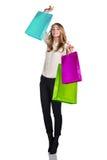 Mujer en desgaste formal con los paquetes coloridos Imagenes de archivo