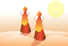 Mujer en desierto stock de ilustración