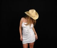 Mujer en dress-9 blanco foto de archivo