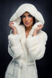 Mujer en el abrigo de pieles blanco Imagen de archivo libre de regalías