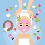 Mujer en el balneario stock de ilustración