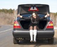 Mujer en el coche Fotografía de archivo libre de regalías