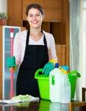 Mujer en el delantal que limpia en casa Imágenes de archivo libres de regalías