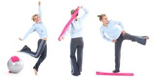 mujer en el ejercicio de la gimnasia Imagen de archivo libre de regalías