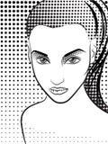 Mujer en el estilo de los tebeos del arte pop halftone Fotografía de archivo