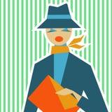 Mujer en el estilo retro de IES 60 en un fondo verde claro Imagen de archivo libre de regalías