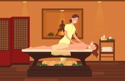 Mujer en el gabinete del terapeuta del masaje Salón de belleza ilustración del vector