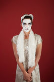 Mujer en el gato Facepaint Foto de archivo libre de regalías