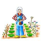 Mujer en el jardín vegetal Foto de archivo libre de regalías