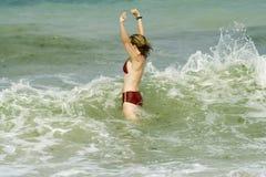 Mujer en el mar Imagen de archivo