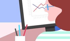 Mujer en el ordenador ilustración del vector