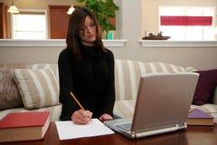 Mujer en el ordenador Imagen de archivo libre de regalías