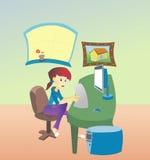 Mujer en el ordenador stock de ilustración