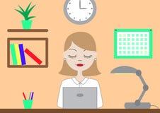 Mujer en el ordenador Fotos de archivo