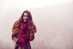 Mujer en el parque hermoso del otoño, otoño del concepto Foto de archivo