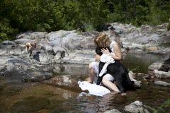 Mujer en el río Imagen de archivo libre de regalías