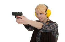 Mujer en el rango de shooting imagenes de archivo