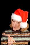 Mujer en el sombrero de Santa Fotos de archivo