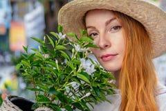 Mujer en el sombrero que sostiene la planta Fotografía de archivo