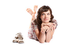 Mujer en el suelo. Fotografía de archivo libre de regalías