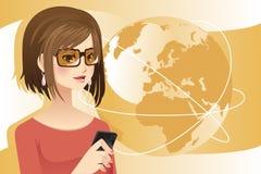 Mujer en el teléfono ilustración del vector