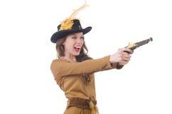 Mujer en el traje del pirata aislado Imagen de archivo libre de regalías