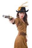 Mujer en el traje del pirata aislado Imagenes de archivo