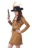 Mujer en el traje del pirata aislado Foto de archivo