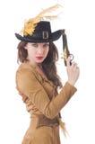 Mujer en el traje del pirata aislado Foto de archivo libre de regalías