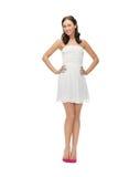 Mujer en el vestido blanco Fotografía de archivo libre de regalías